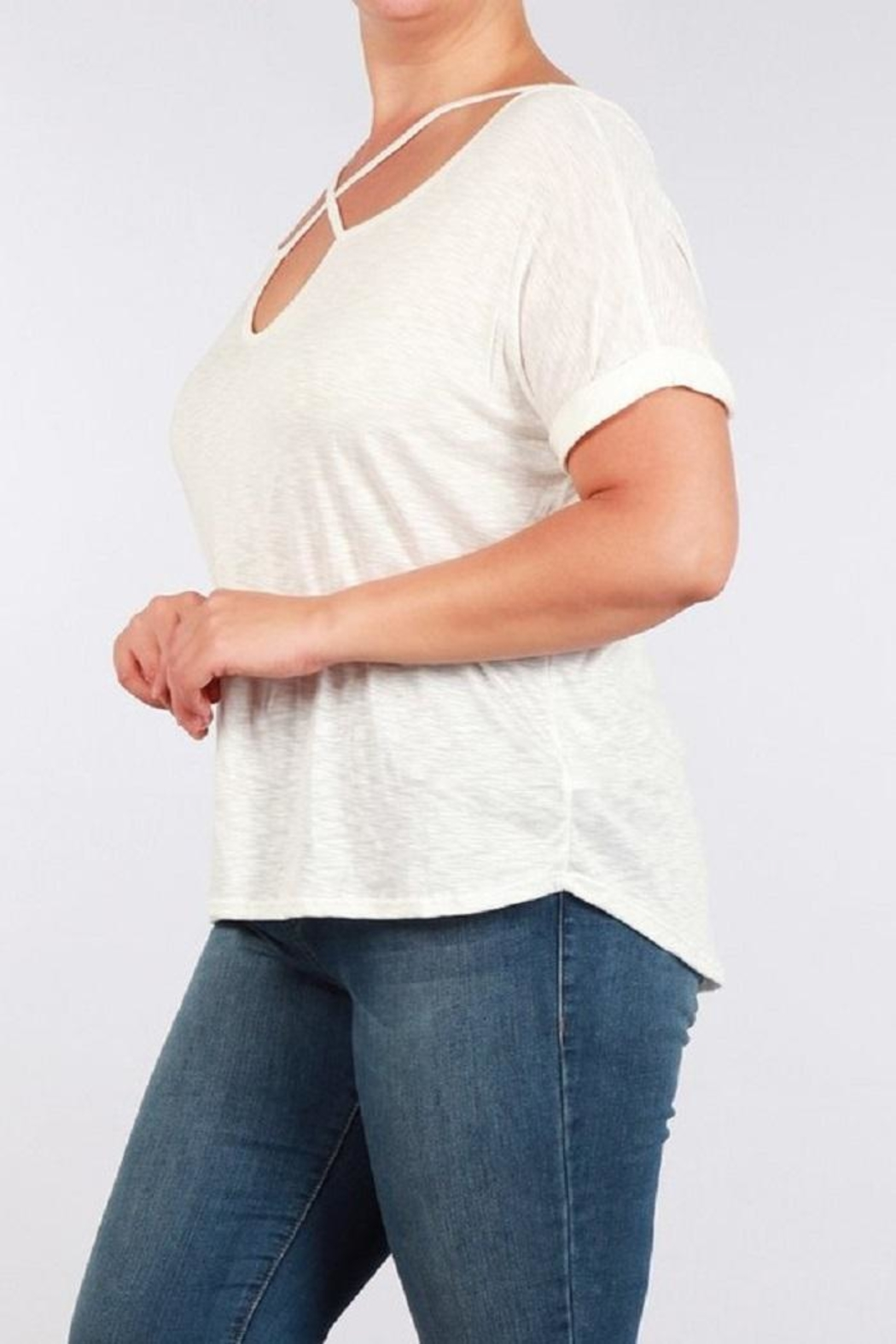 Toto Collection Cross Neck Tee - Front Full Image