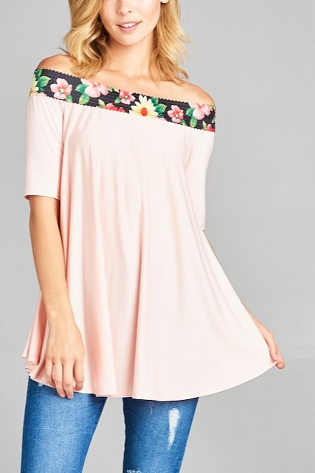 Lyn-Maree's  Touch of Floral Off The Shoulder Tee - Main Image