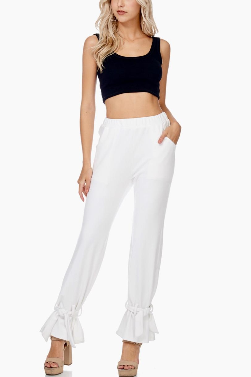 TOV Ankle Tie Trousers - Front Cropped Image