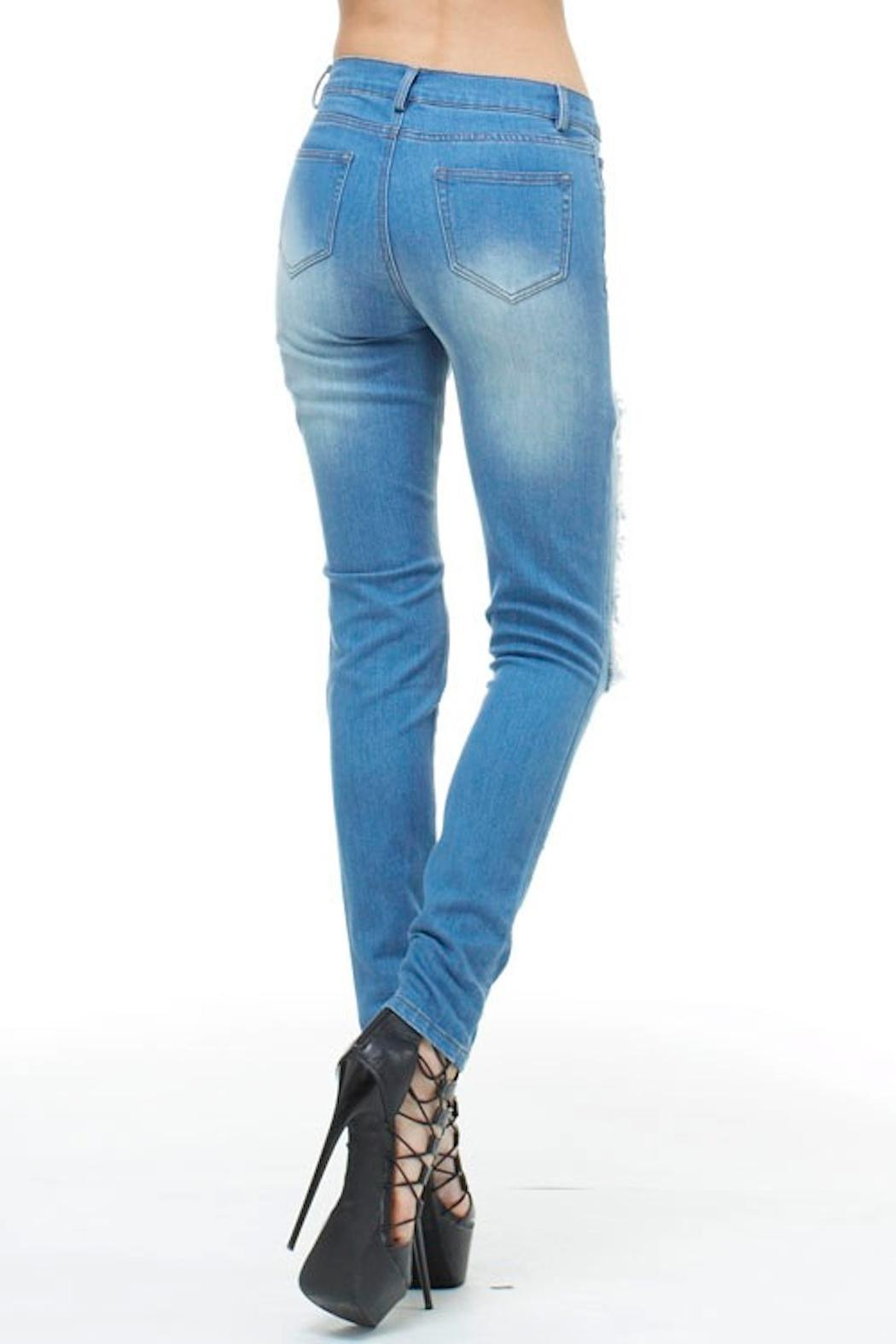 TOV High-Waisted Fishnet Jeans - Front Full Image