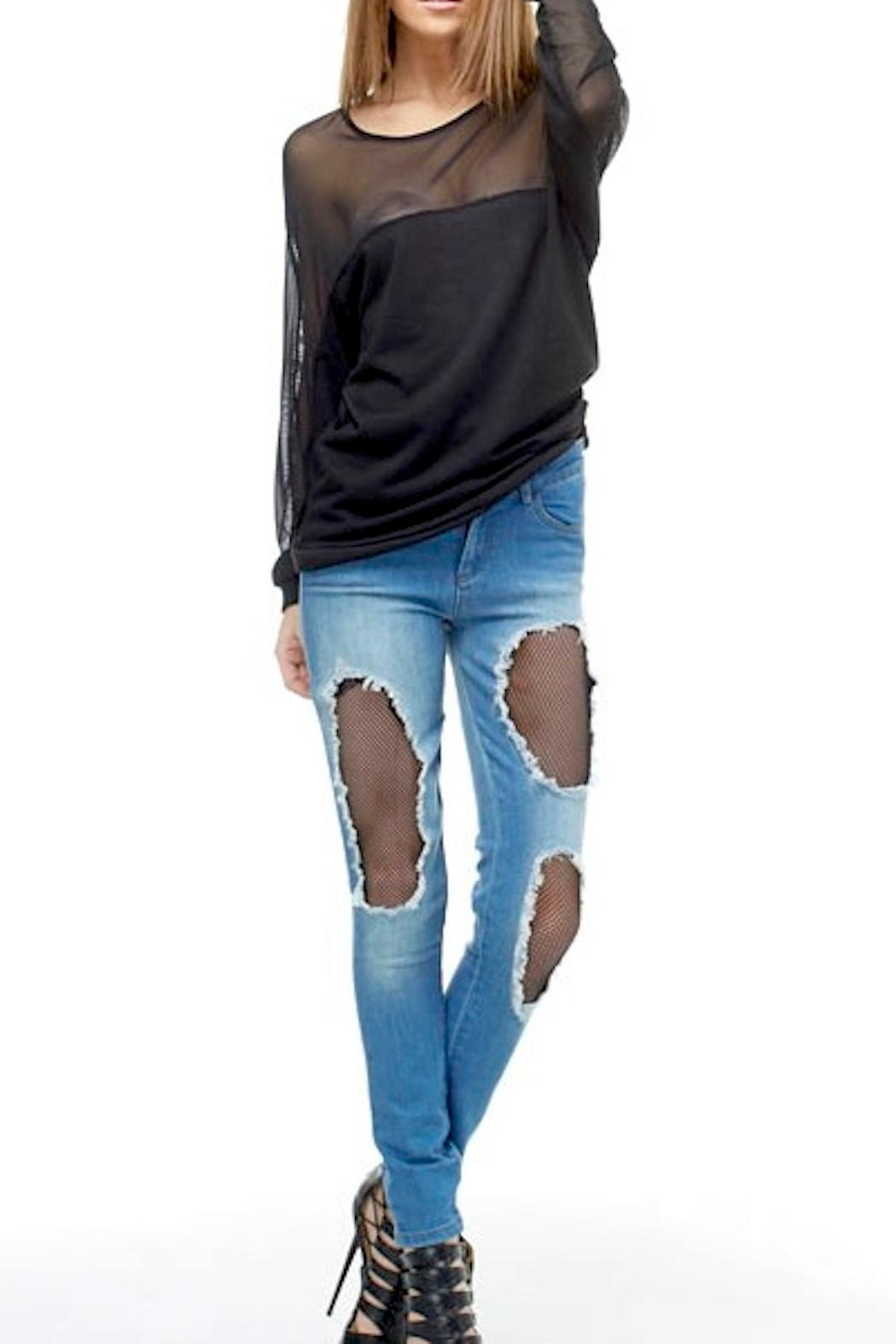 TOV High-Waisted Fishnet Jeans - Side Cropped Image