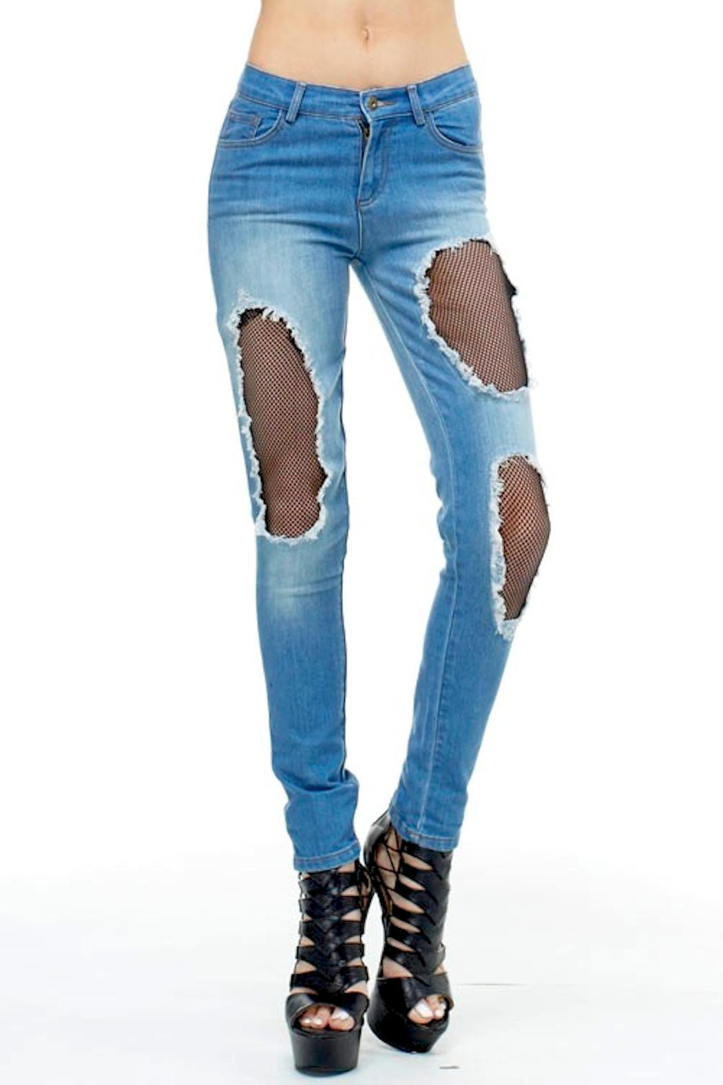 TOV High-Waisted Fishnet Jeans - Main Image