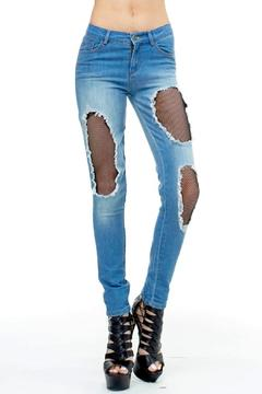 TOV High-Waisted Fishnet Jeans - Product List Image