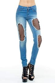 TOV High-Waisted Fishnet Jeans - Product Mini Image