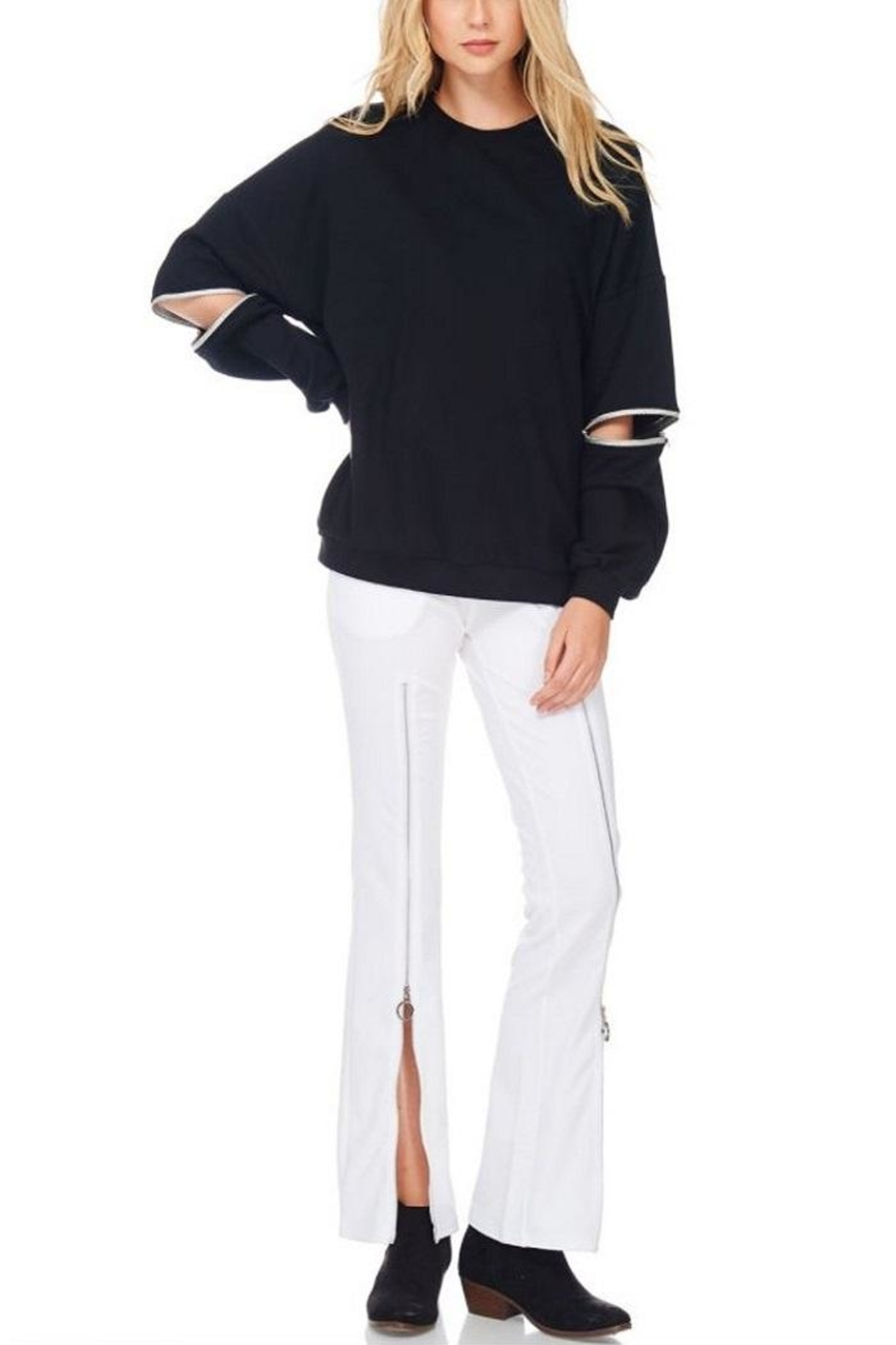 TOV Hip Zip Sweater - Front Cropped Image