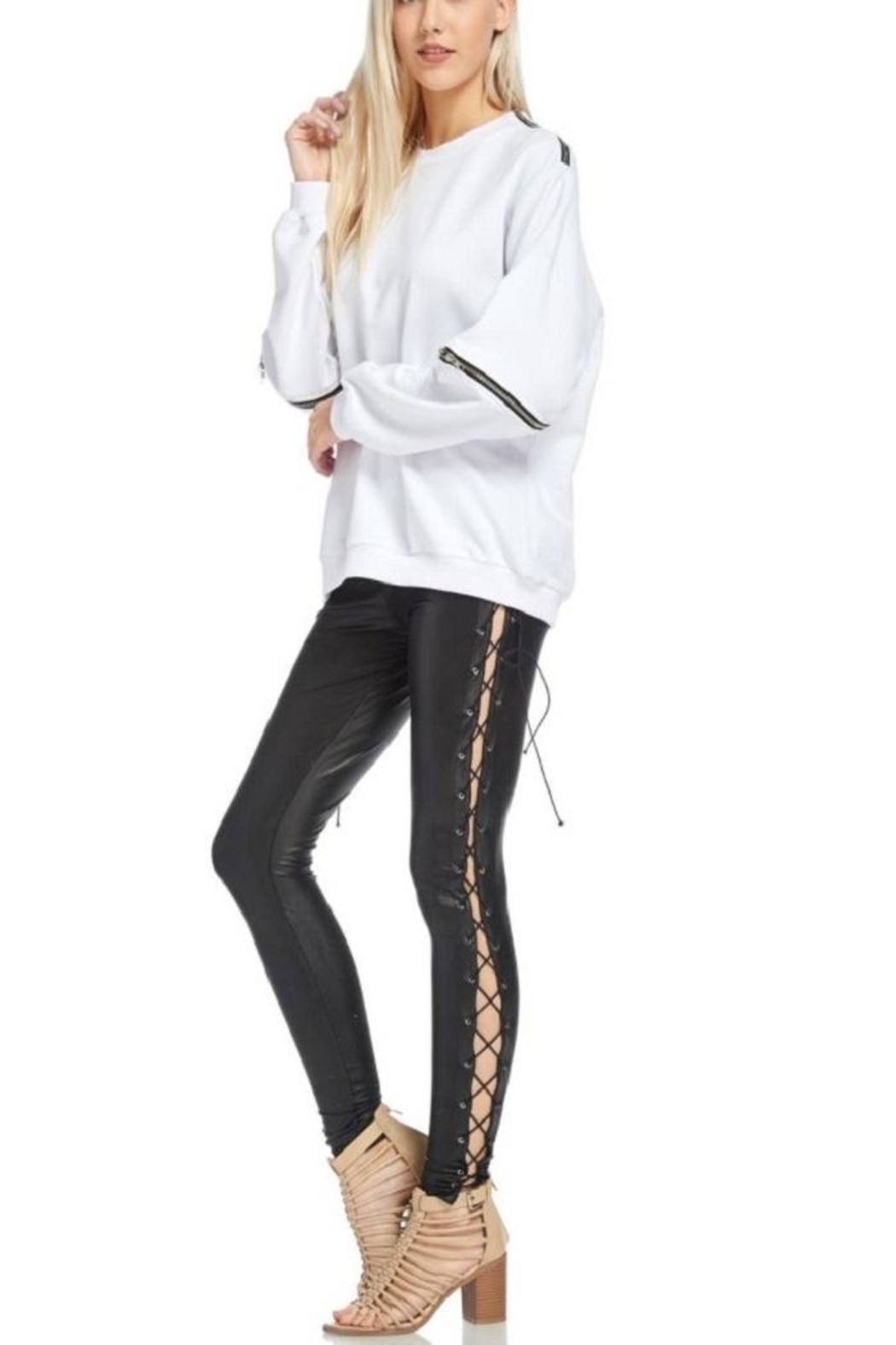 TOV Hip Zip Sweater - Back Cropped Image