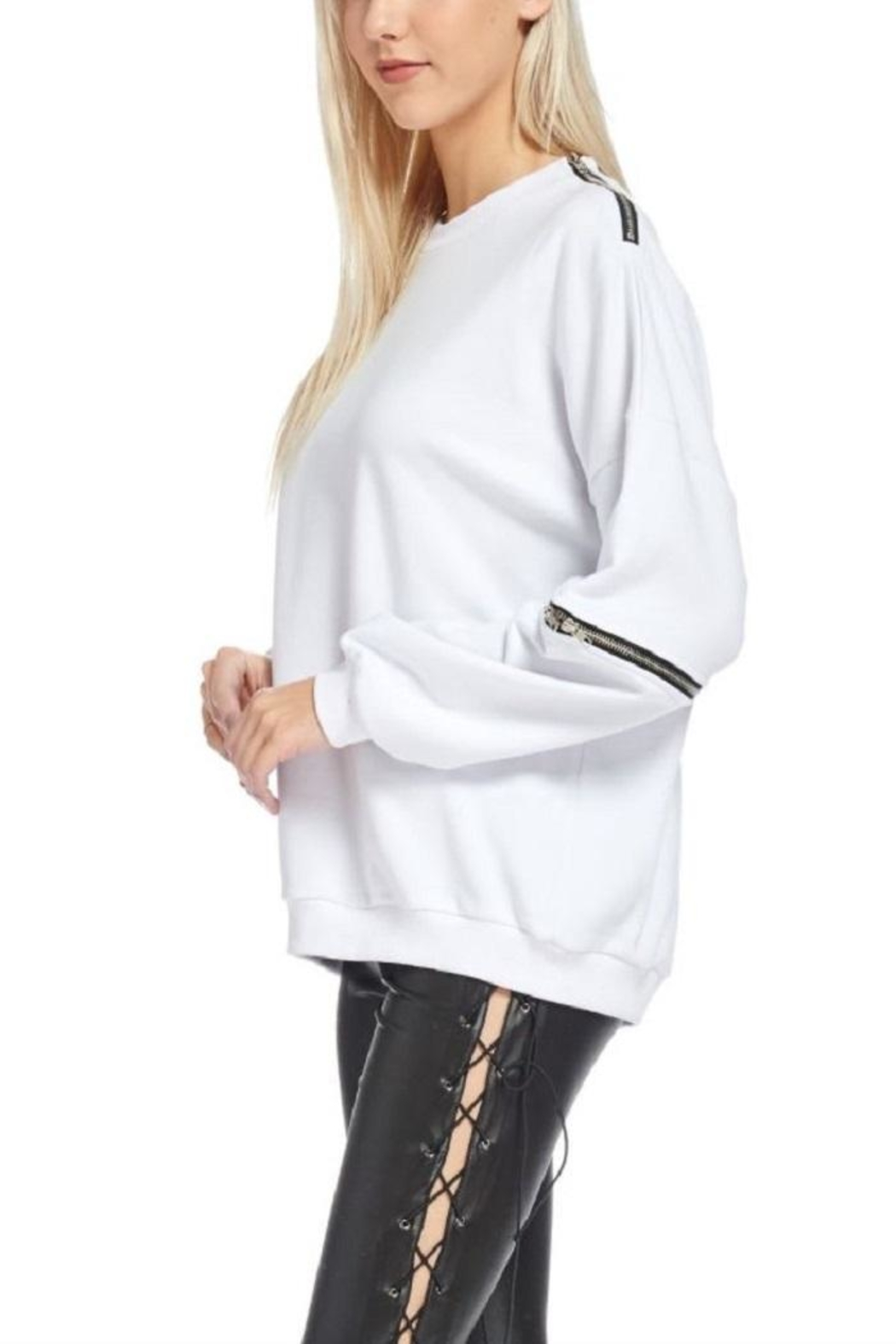 TOV Hip Zip Sweater - Front Full Image