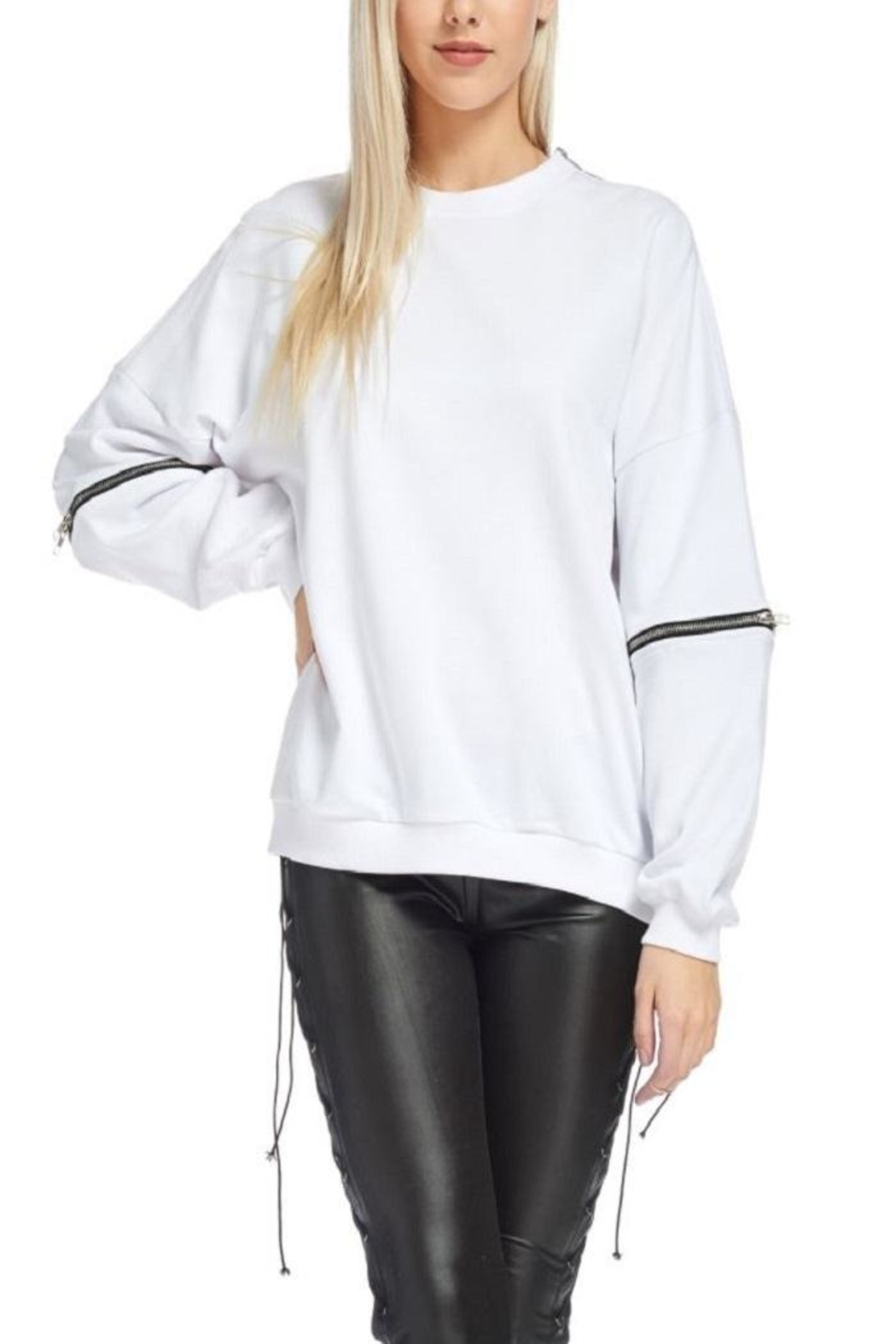 TOV Hip Zip Sweater - Side Cropped Image