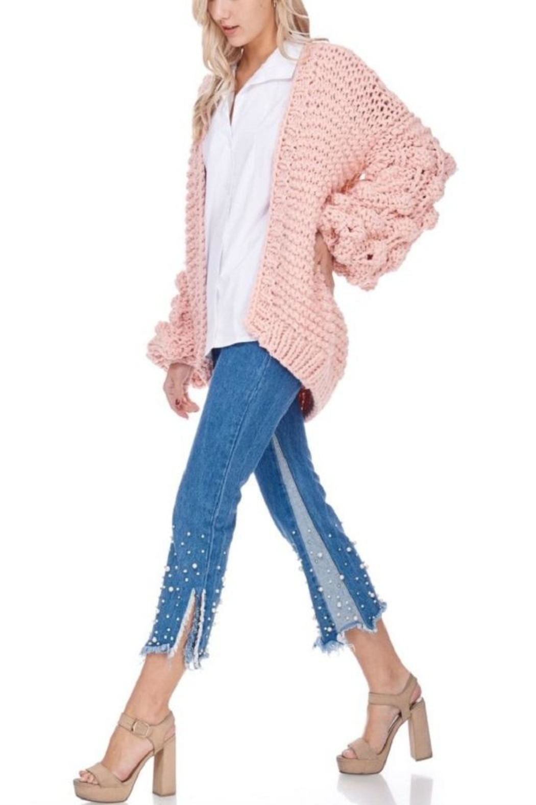 TOV Knitted Knobby Sweater - Front Full Image