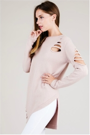 Towne Asymmetrical Distressed Sweater - Front full body