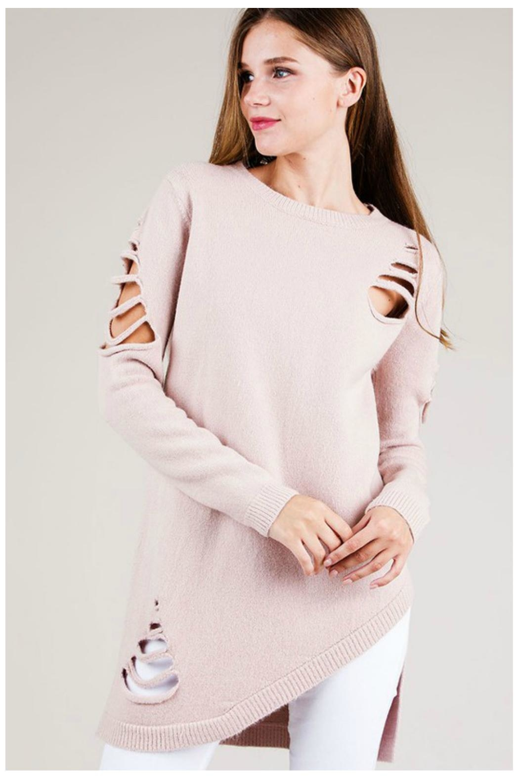 Towne Asymmetrical Distressed Sweater - Front Cropped Image