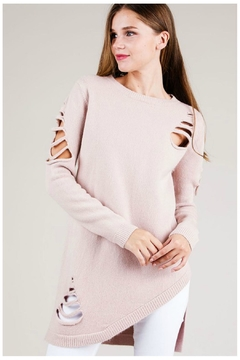 Shoptiques Product: Asymmetrical Distressed Sweater