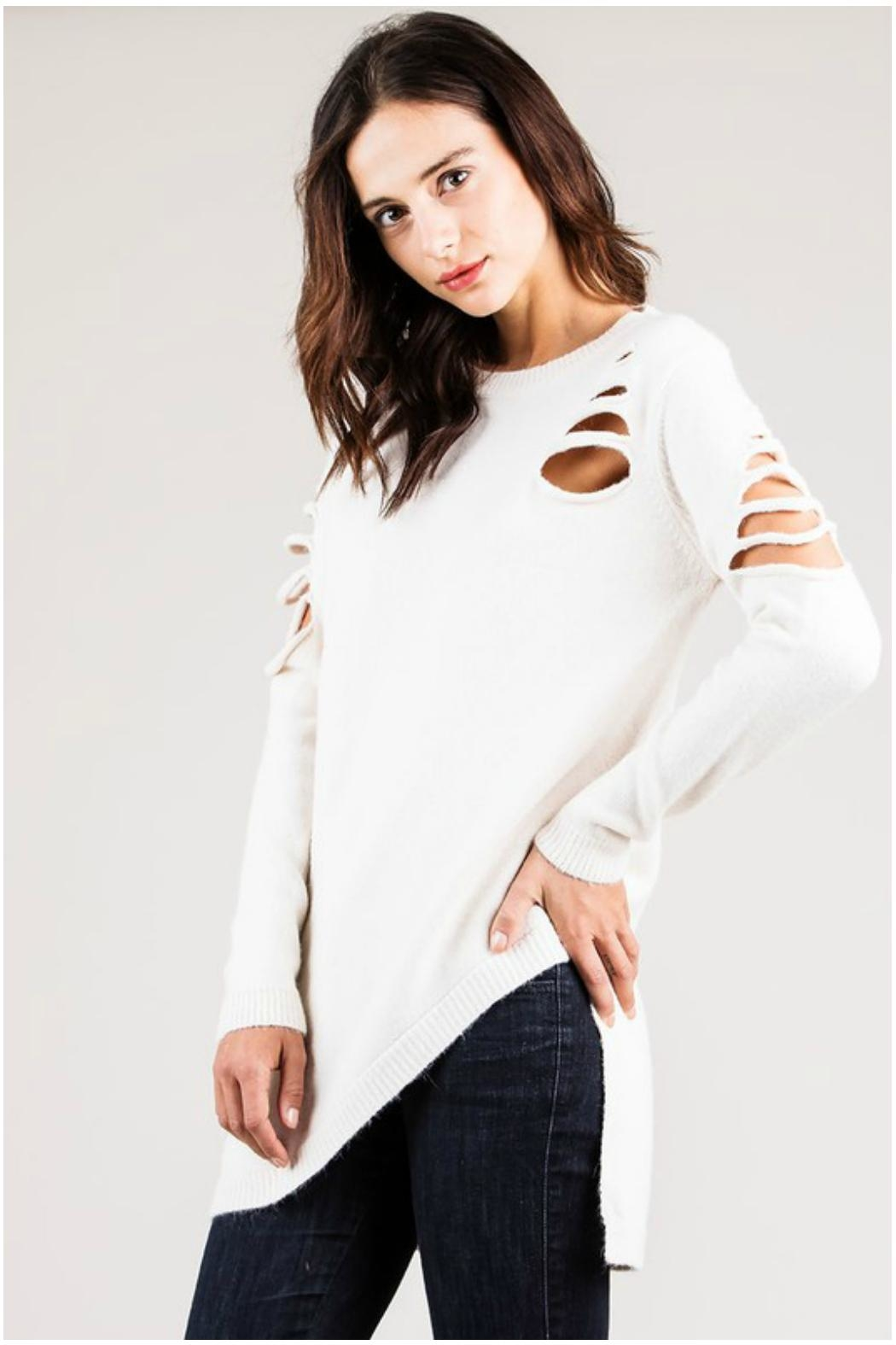 Towne Asymmetrical Distressed Sweater - Front Full Image