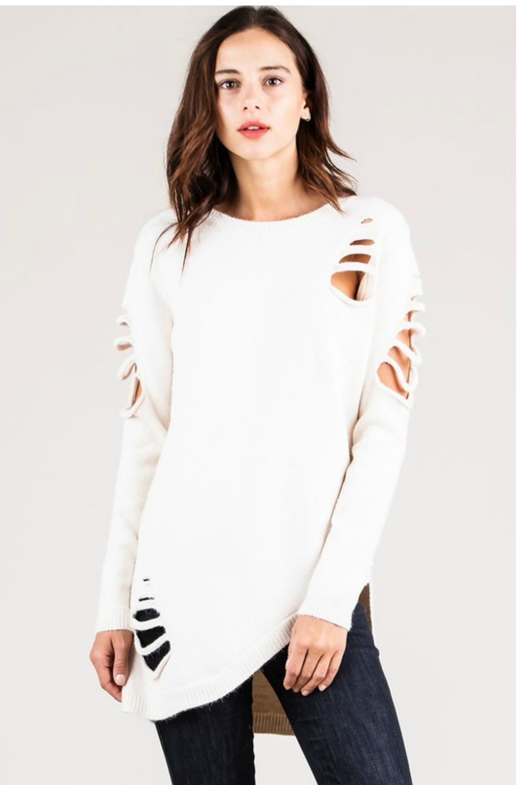 Towne Asymmetrical Distressed Sweater - Main Image