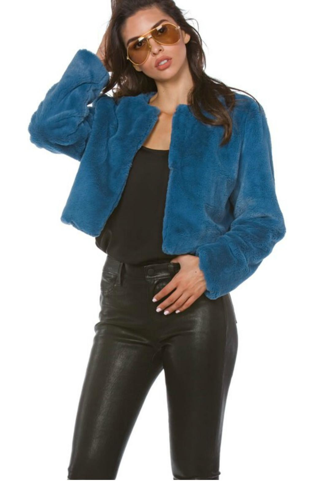 Towne Blue Fur Jacket - Front Cropped Image