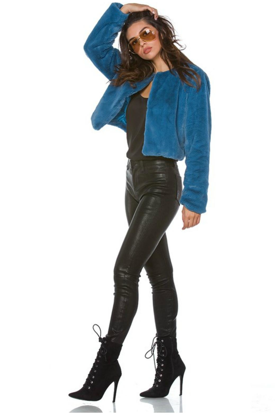 Towne Blue Fur Jacket - Front Full Image