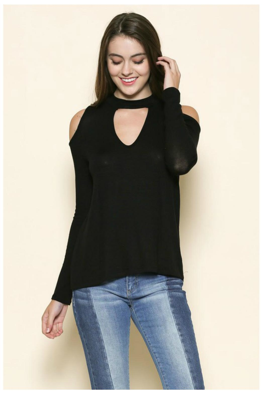 Towne Knit Keyhole Top - Front Cropped Image
