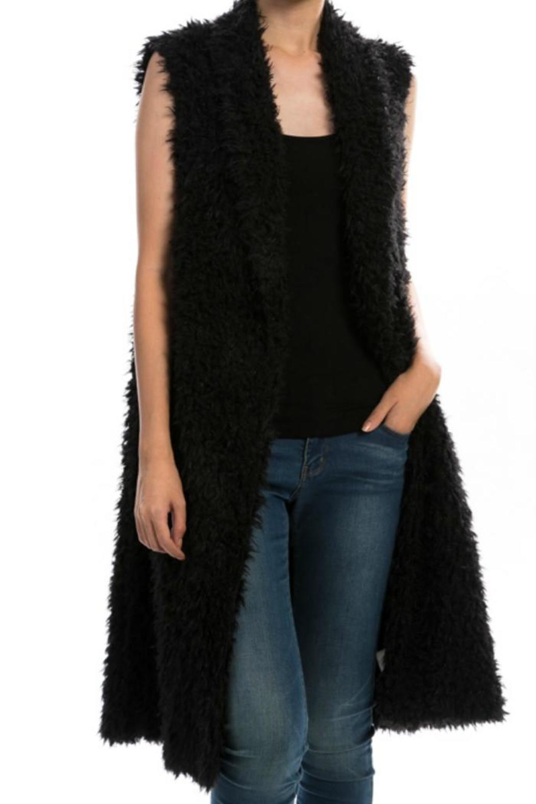 Towne Long Furry Vest - Front Cropped Image
