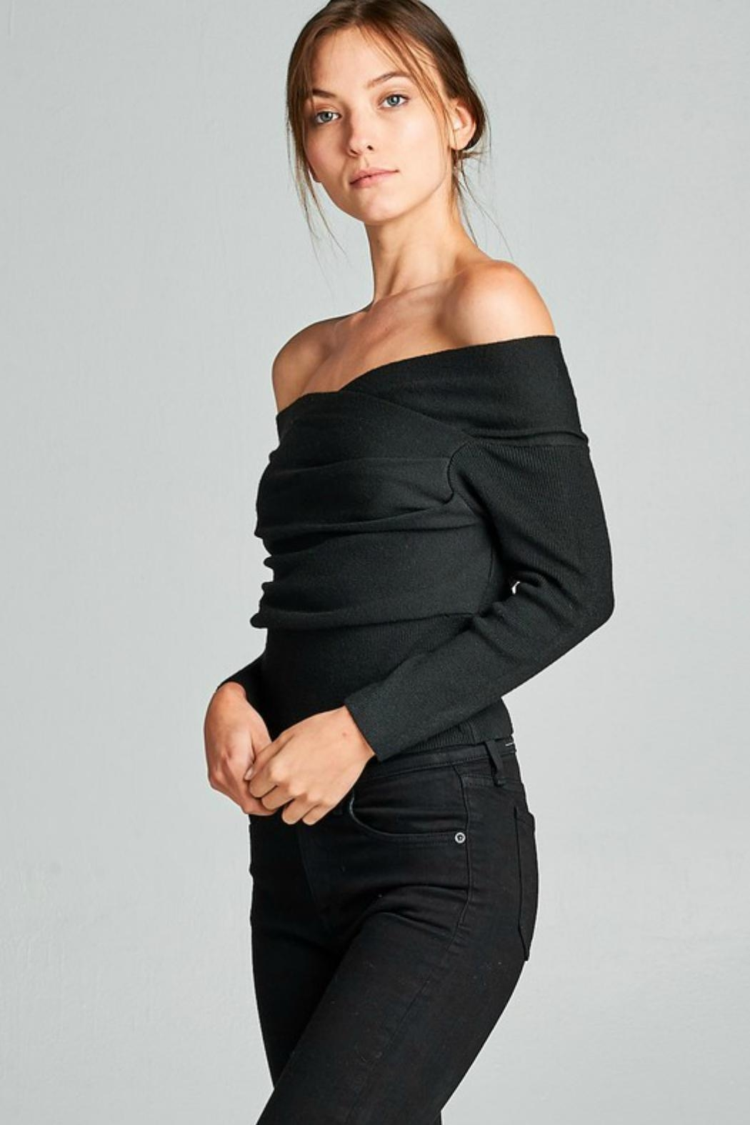 Towne Off Shoulder Sweater - Side Cropped Image