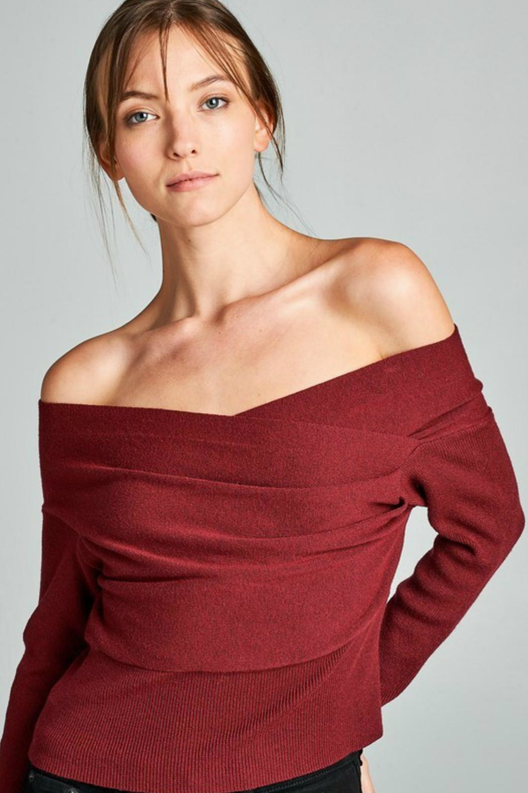 Towne Off Shoulder Sweater - Front Cropped Image