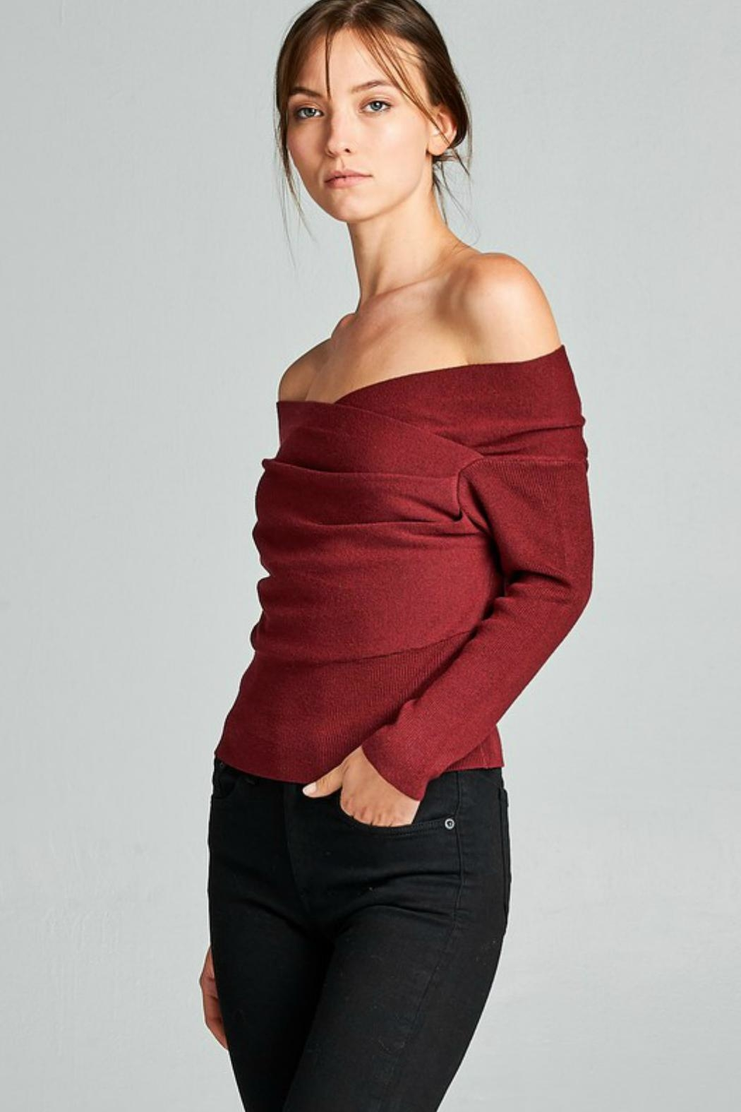 Towne Off Shoulder Sweater - Front Full Image