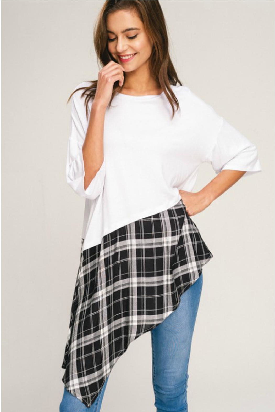 Towne Plaid Bottom Tee - Front Full Image