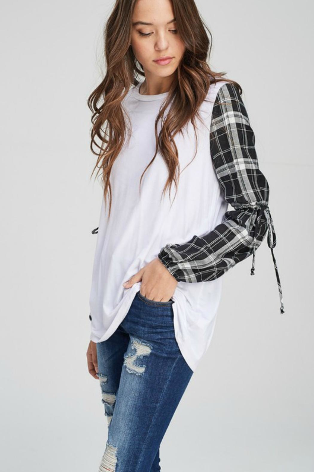 Towne Plaid Sleeve Tee - Front Full Image