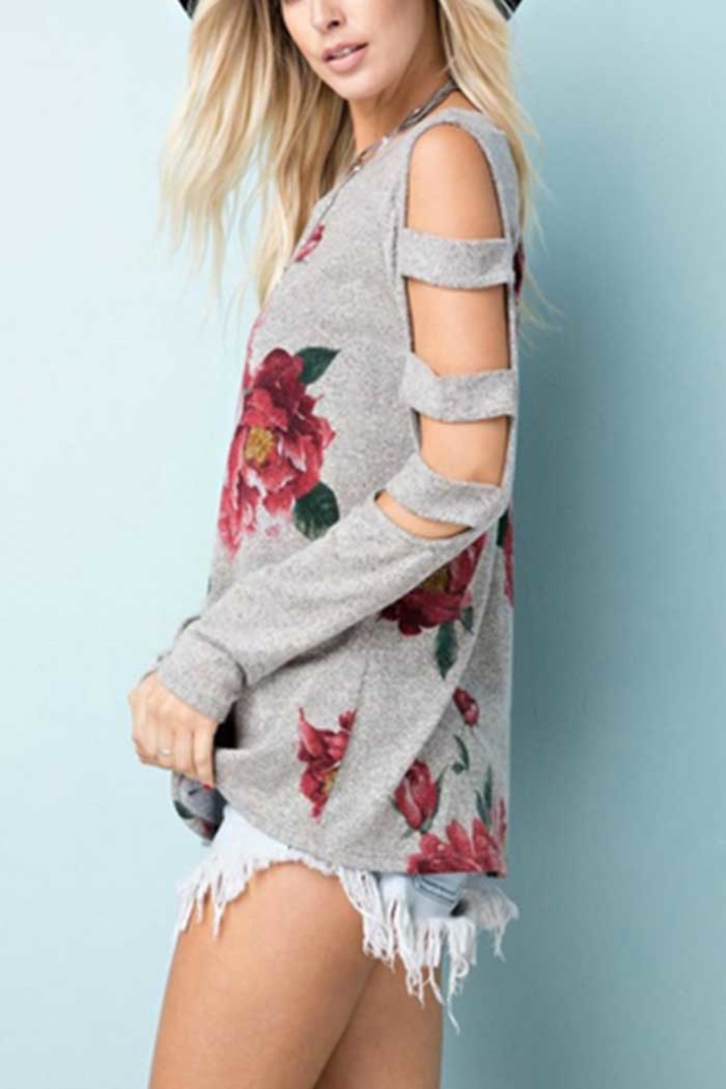Towne Print Cutout Top - Front Full Image