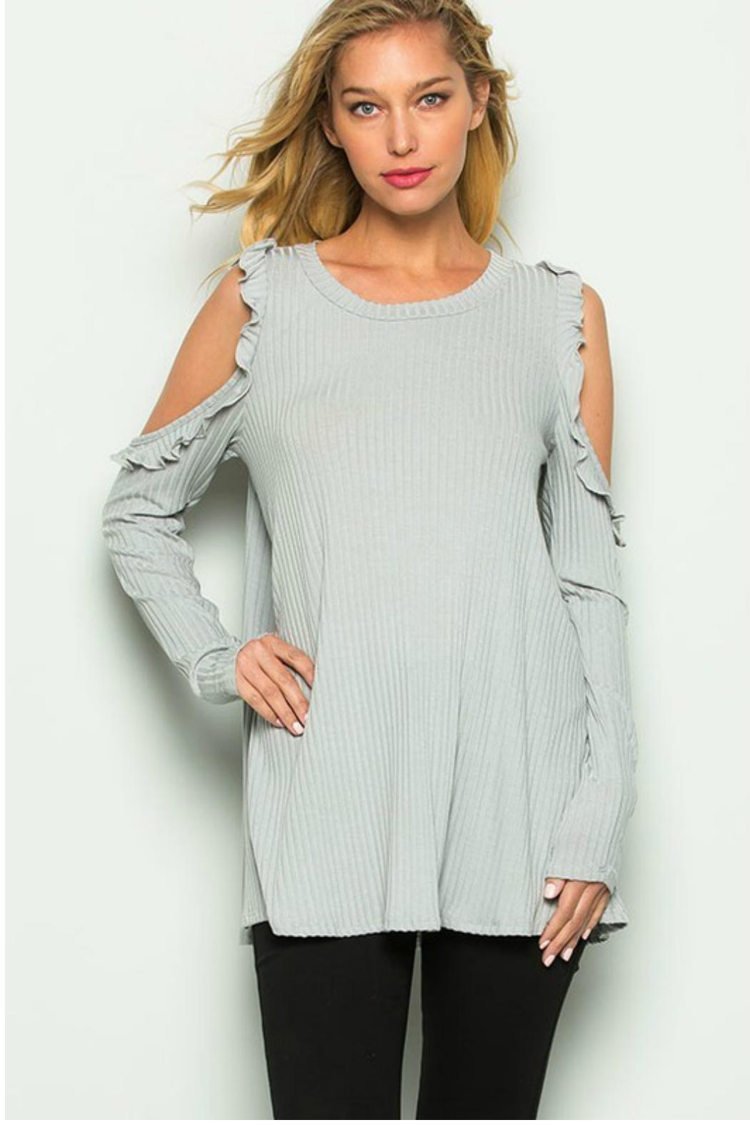 Towne Ruffled Cold Shoulder - Front Full Image