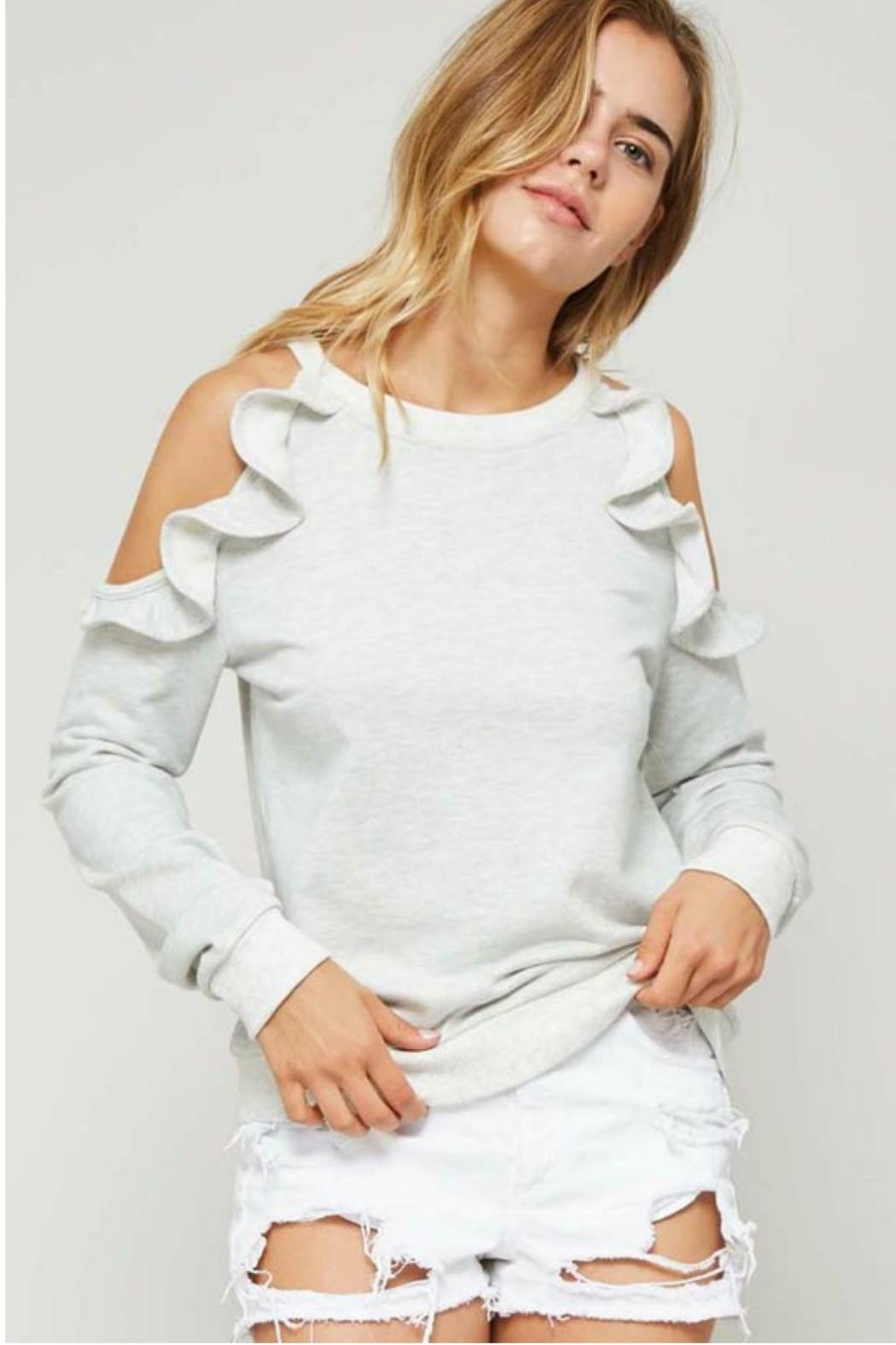 Towne Ruffled Sweatshirt - Front Cropped Image