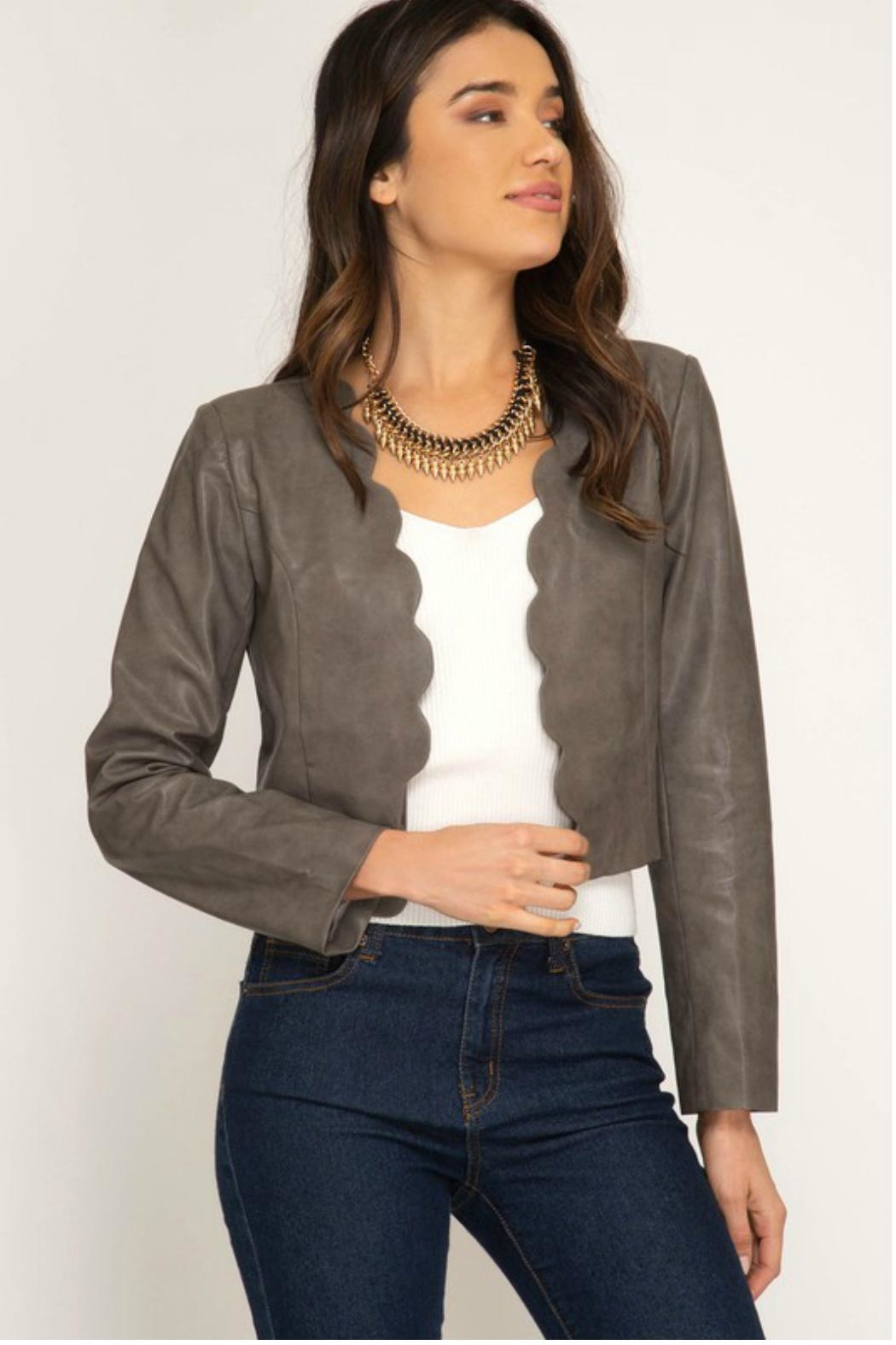 c6bbf7b42e233 Towne Scalloped Leather Jacket from Long Island — Shoptiques