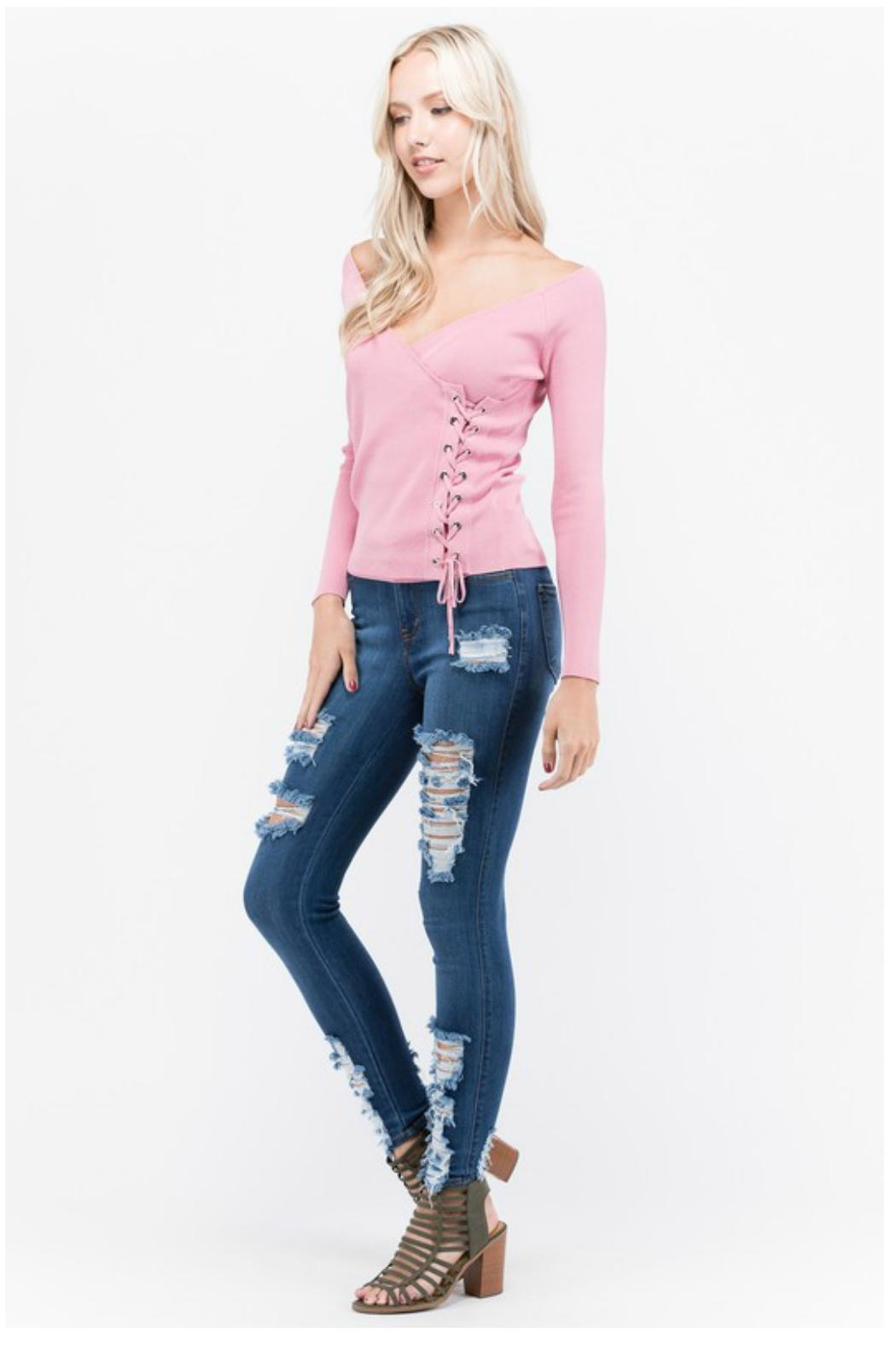 Towne Side Laceup Top - Front Full Image