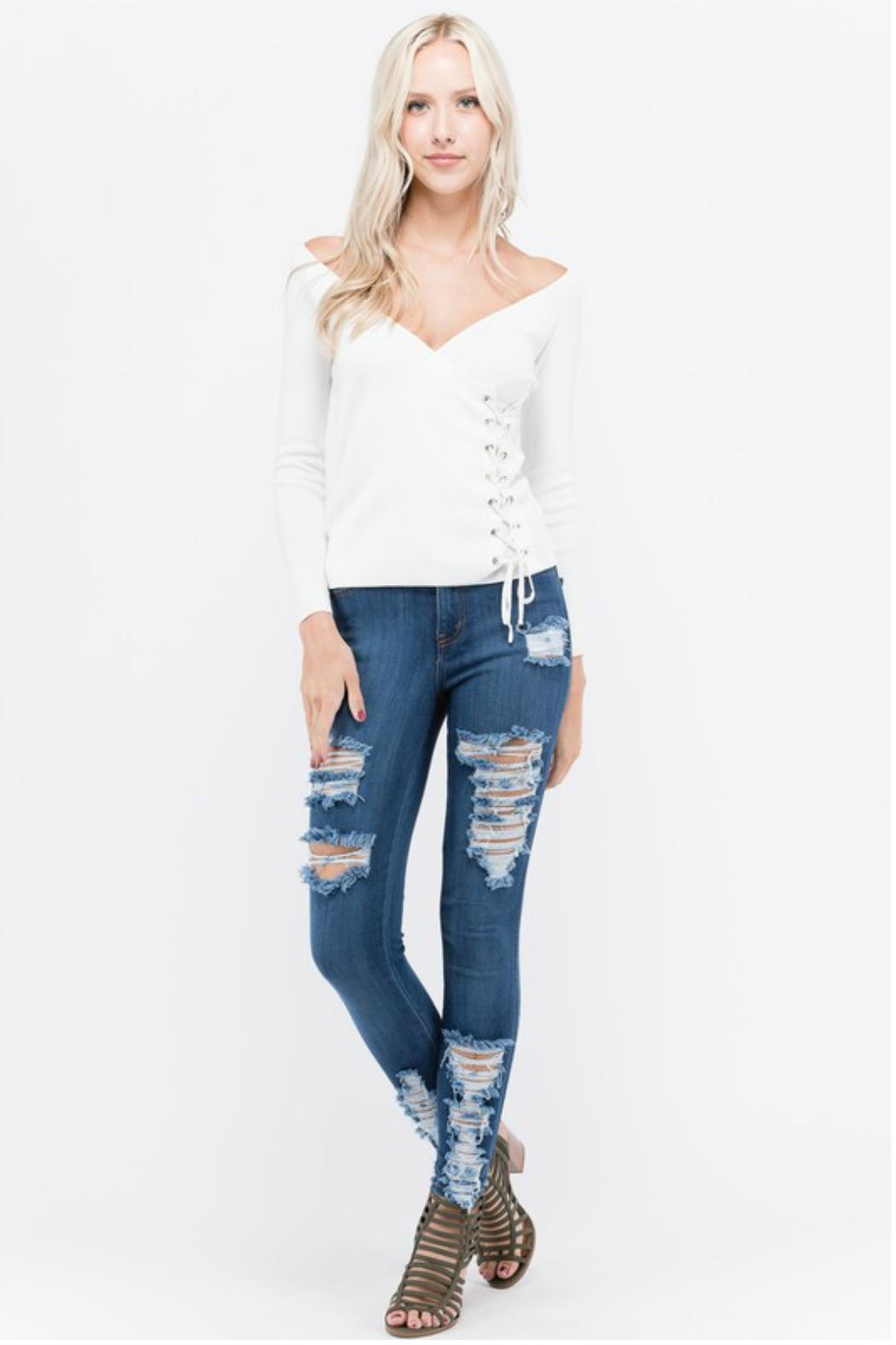 Towne Side Laceup Top - Front Cropped Image