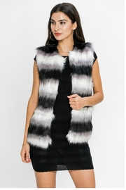 Towne Striped Fur Vest - Front cropped