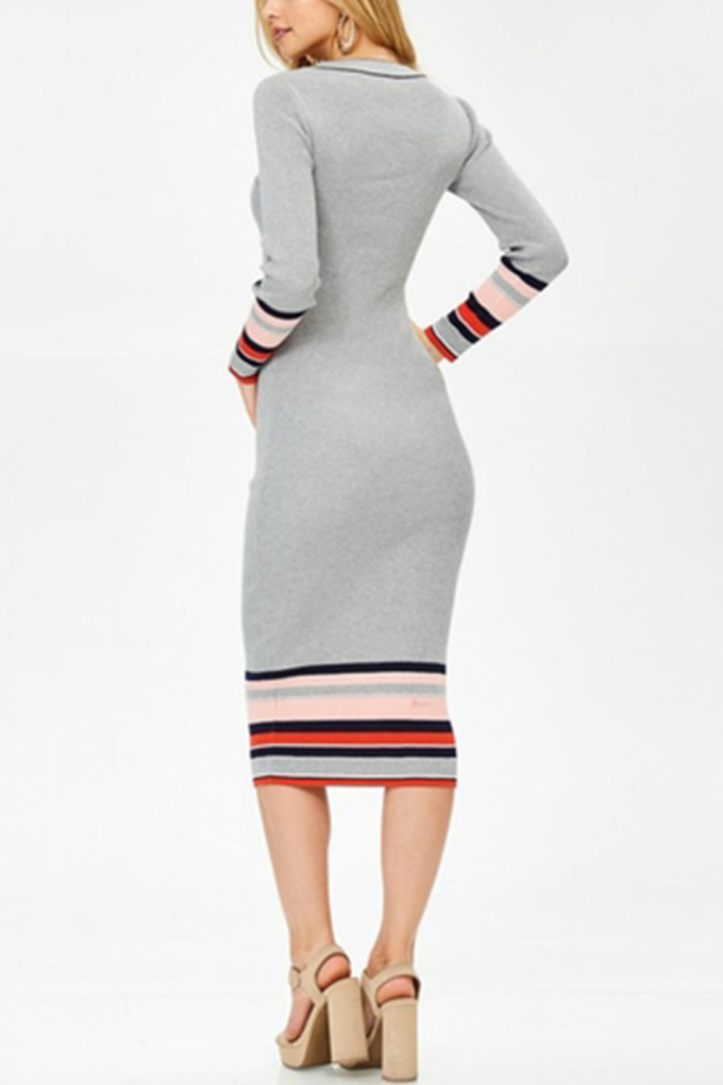Towne Striped Midi Dress - Side Cropped Image