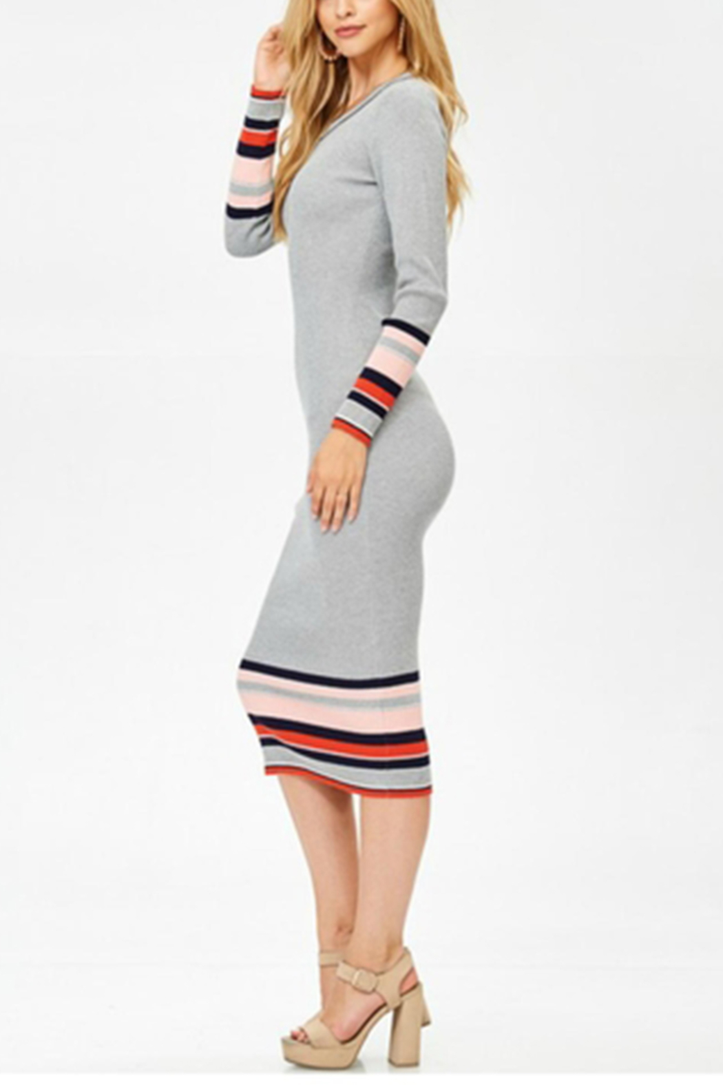 Towne Striped Midi Dress - Front Full Image