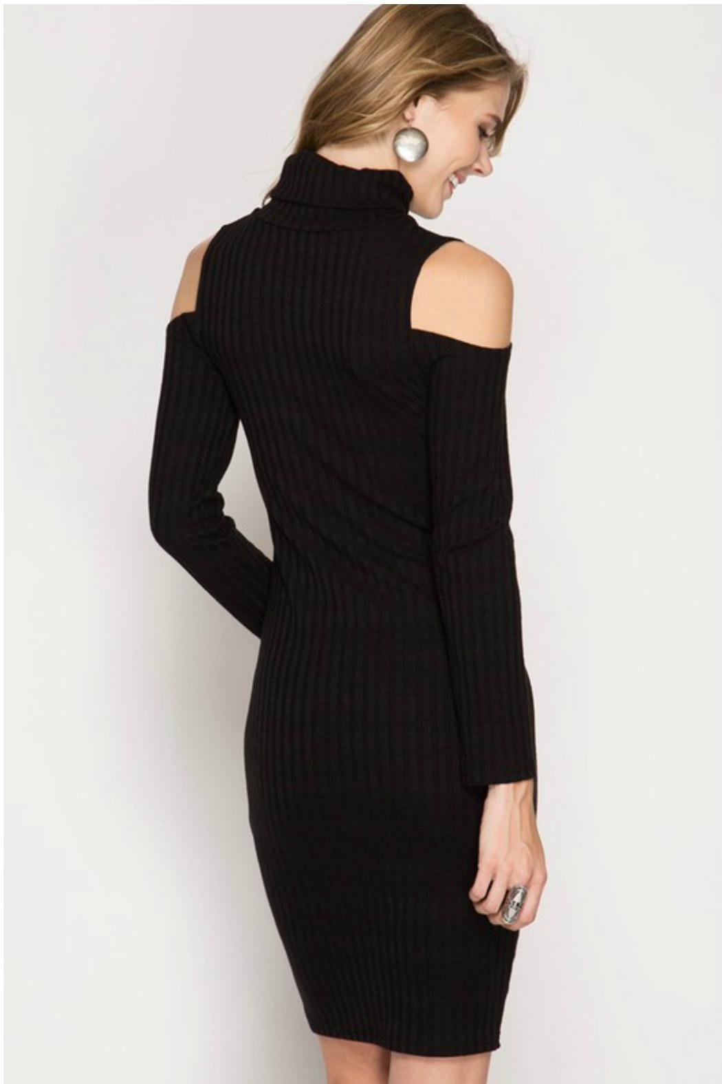 Towne Turtleneck Ribbed Dress - Front Full Image