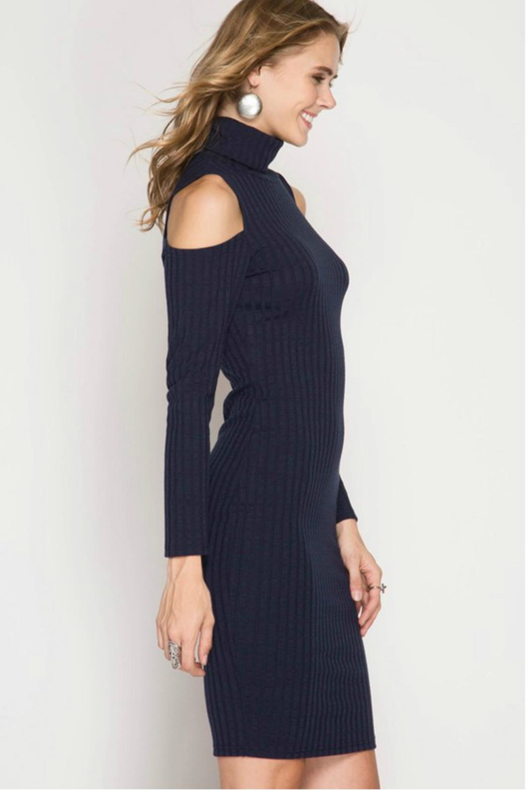 Towne Turtleneck Ribbed Dress - Front Cropped Image