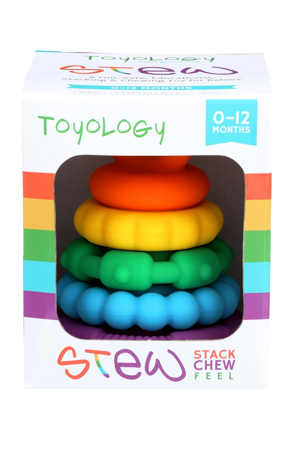 Toyology Rainbow Stacking Teether - Side Cropped Image