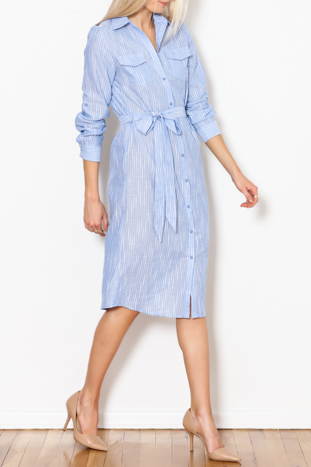 Trac Button Down Dress - Front Cropped Image