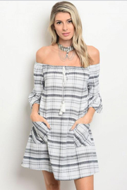 Tracie's Black and White Off the Shoulder Dress - Front cropped