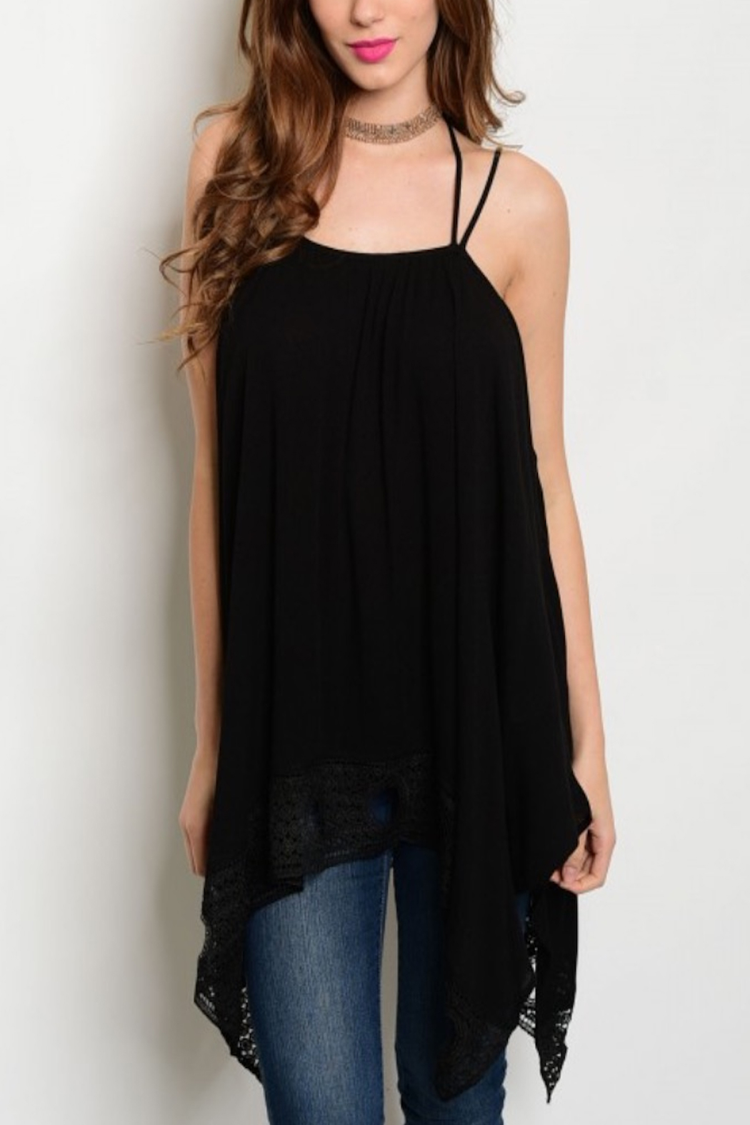 Tracie's Black Tunic Top - Front Cropped Image
