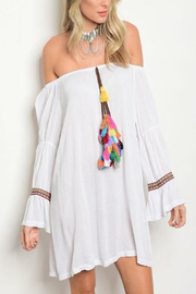 Tracie's Boho White Tassel Dress - Front cropped