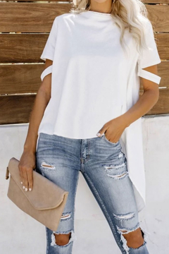Tracie's Defying Gravity High Low Knit Top (White/Black) - Product List Image