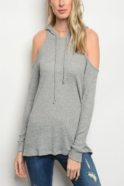 Tracie's Grey Hoody Open Arm Top - Front cropped