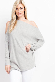 Tracie's Grey Open Shoulder Top - Front cropped