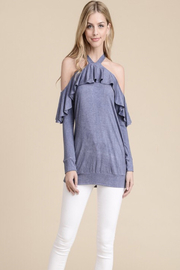 Tracie's Indigo Ruffle Off The Shoulder - Front cropped