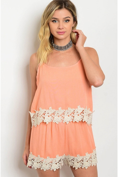 Tracie's Lace Peach Romper - Alternate List Image