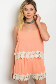 Tracie's Lace Peach Romper - Front cropped