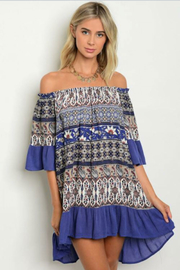 Tracie's Multi-Color Blue Ruffle Dress - Front cropped